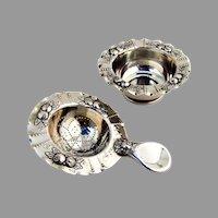 German Repousse Fruit Tea Strainer Bowl Set Bruckmann Sohne 800 Silver