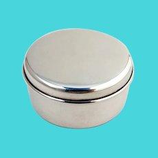 Tiffany Round Small Jewelry Box Blue Velvet Liner Sterling Silver No Mono