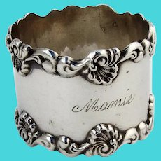 Baroque Shell Scroll Napkin Ring Towle Sterling Silver Mono Mamie