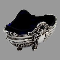 French Baroque Style Open Salt Dish Glass Liner Page Freres 950 Sterling Silver