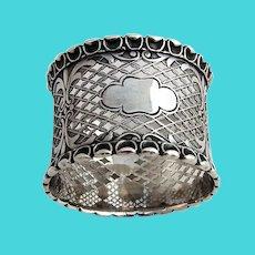 Cutwork Napkin Ring Applied Borders Coin Silver 1860 No Mono