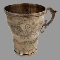 Spanish Colonial Engraved Floral Cup Scroll Handle 900 Silver 1820 Mono RBC
