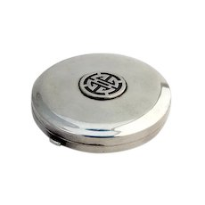 Art Deco Round Compact Applied Medallion Thomae Sterling Silver