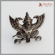 Figural Asian Deity Place Card Holder Sterling Silver