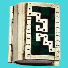 Book Form Pill Box Malachite Chip Inlay Sterling Silver Mexico