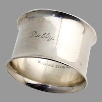 Flared Rim Napkin Ring Wallace Sterling Silver Mono Polly