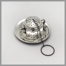 Teapot Form Tea Ball Underplate Set Amcraft Sterling Silver