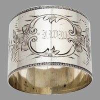 Bright Cut Engraved Floral Napkin Ring Frank Whiting  Sterling Silver Mono IWM