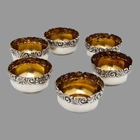 Baroque Scroll Foliate Open Salts Set Gilt Interior Redlich Sterling Silver