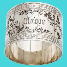 Engraved Foliate Vine Napkin Ring Coin Silver 1870 Mono Madge