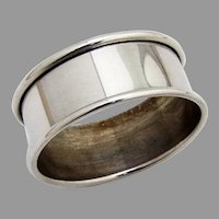 Web Plain Design Napkin Ring Applied Rims Sterling Silver