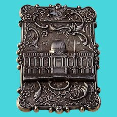 US Capitol Washingtons Tomb Card Case Leonard Wilson Coin Silver 1850 Mono