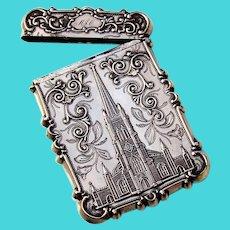 Calling Card Case Philadelphia Water Works Trinity Church Coin Silver 1850 Mono