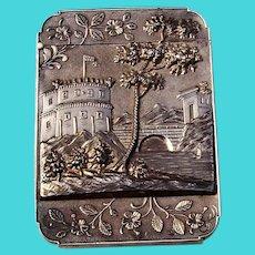 Card Case Trinity Church Philadelphia Water Works Coin Silver 1850 Mono