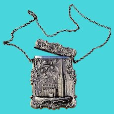 Trinity Cathedral US Capitol Card Case Chain Handle Coin Silver 1850 Mono