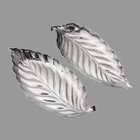 Leaf Form Dishes Pair Chinese Export Silver