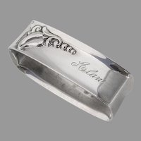 Blossom Rectangle Napkin Ring Webster Sterling Silver Mono Alan