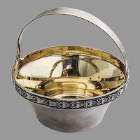 Soviet Russian Sugar Basket Abstract Border Gilt Interior 916 Silver