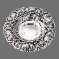 Repousse Iris Bon Bon Candy Bowl Whiting Sterling Silver