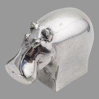 Dansk Designs Figural Hippo Paper Weight Silverplate Japan