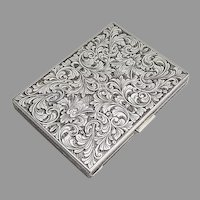 Italian Engraved Chased Cigarette Case 800 Silver 1947 Mono