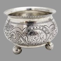Russian Engraved Open Salt Ball Feet Ivan Saltykov 84 Standard Silver 1890