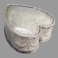 Engraved Foliate Floral Heart Box Howard Sterling Silver 1903 Mono ESJ
