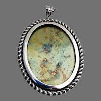 Oval Wall Picture Frame Gadroon Border Leaf Bail Sterling Silver Siam