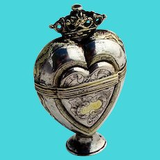 Scandinavian Crowned Heart Marriage Box Sterling Silver 18th Century