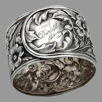Repousse Napkin Ring Kirk Son Sterling Silver Mono Dorothy Ann