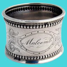 Beaded Engraved Napkin Ring Coin Silver 1880 Mono Malcomb