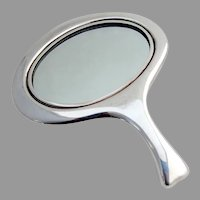 Tiffany Art Moderne Oval Hand Mirror Sterling Silver 1950s