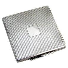 German Square Mirrored Compact Karl Hohmann 835 Standard Silver 1930