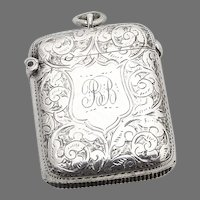 English Engraved Chatelaine Match Safe William Neal Sterling Silver 1896 BB
