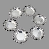 Rose Scroll Butter Pats Set Alvin Sterling Silver No Mono