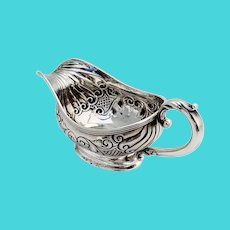 Gorham Repousse Creamer Scroll Handle Sterling Silver 1892 Mono H