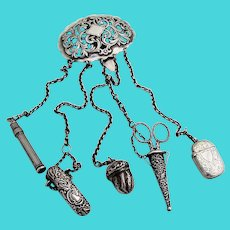 English Chatelaine Accessories Set Sterling Silver Mappin Webb 1890