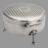 Birks Round Fitted Jewelry Box Engine Turned Sterling Silver 1928 Mono FEC