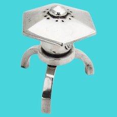 Japanese Lantern Tripod Salt Shaker Asahi Shoten 950 Sterling Silver