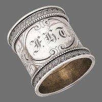 Engraved Napkin Ring Palmette Borders Wood Hughes Sterling Silver 1880