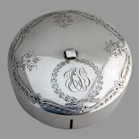 Birks Engraved Floral Ribbon Box Sterling Silver 1930 Canada Mono HJG