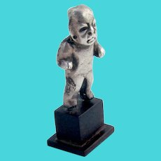 Spratling Olmec Figurine Wooden Base Sterling Silver 1962 Mexico