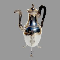 French 1st Empire Figural Coffee Pot 950 Sterling Silver 1810 Crowned Crest