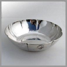 Kalo Hammered Serving Bowl Lobed Border Sterling Silver 1930 Mono G