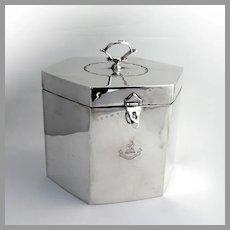 English Hexagonal Biscuit Box Thomas Bradbury Sterling Silver 1905 Unicorn Crest