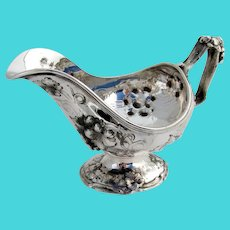 Repousse Grapevine Gravy Boat Francis Cooper Coin Silver 1860