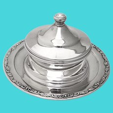 Japanese Covered Butter Press Scroll Rim 950 Sterling Silver 1960