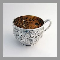 Repousse Floral Scroll Cup Gilt Interior Dominick Haff Sterling Silver 1890 Mono