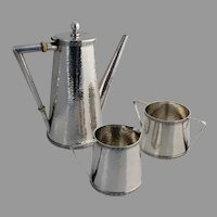 Etruscan Hammered 3 Piece Demitasse Set Dominick Haff Sterling Silver