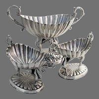 Spanish Fluted Serving Bowls Set Figural Swan Feet 916 Standard Silver